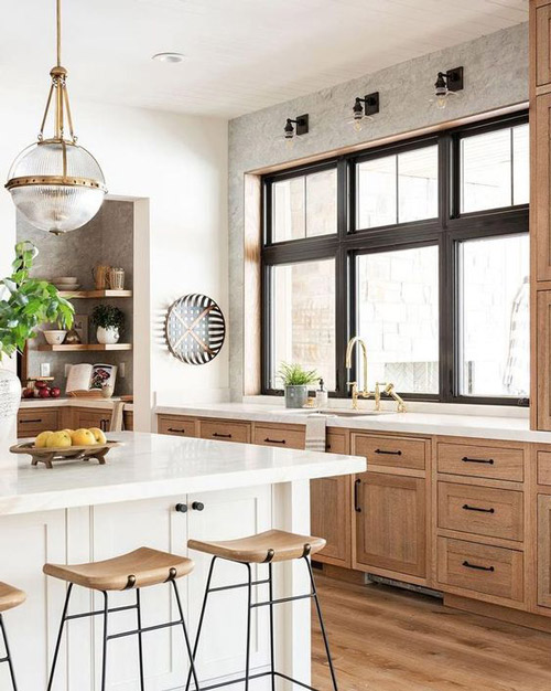 Indesign by Fanusta Brown and White Modular Kitchen