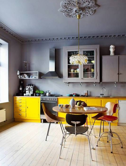 Indesign by Fanusta Yellow and Grey Kitchen Combination